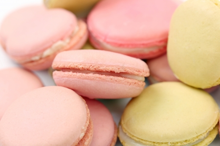 Background of several various macaroons cakes. Close up. photo