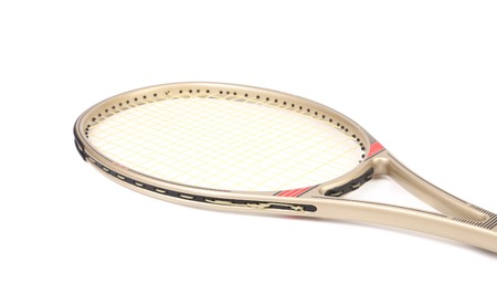 tennis racket: Gray tennis racket. Isolated on a white background.