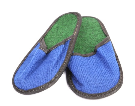 Bright pair of blue slippers. Isolated on a white background. Stock Photo - 23125124
