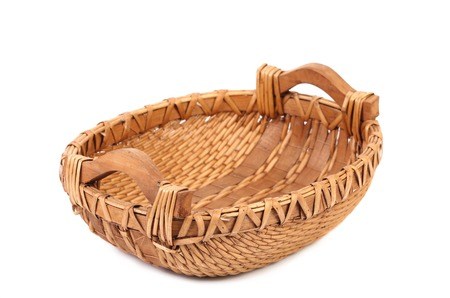 cepelia: Vintage weave wicker basket. Isolated on a white background.