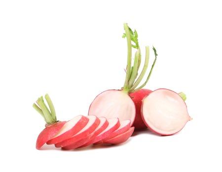 Fresh sliced radish and whole. Isolated on a white background. photo