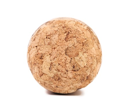 Close up of champagne cork. Isolated on a white background. Stock Photo