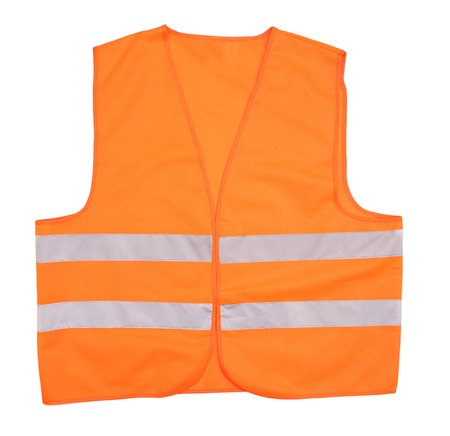 vest in isolated: Safety orange vest. Isolated on a white background. Stock Photo