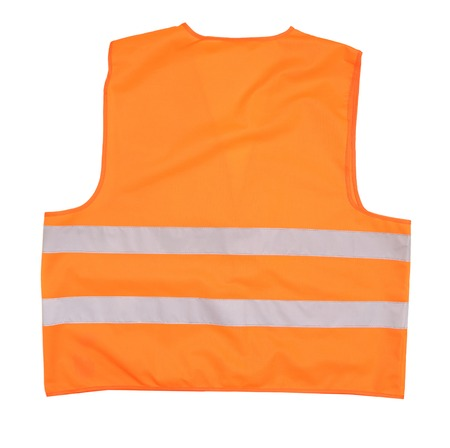 vest in isolated: Safety orange vest. Back view. Isolated on a white background. Stock Photo