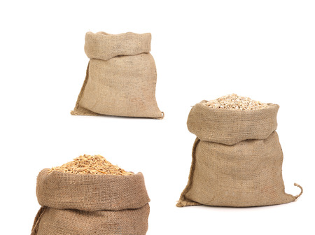 Collage of bags with grain. Isolated on a white background. Stock Photo - 23147545