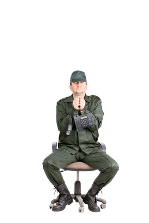 Man in workwear tied up with wire. Isolated on a white background. photo