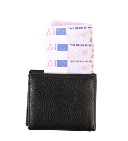 Five hundred euro bills in purse. Isolated on a white backgropund. photo