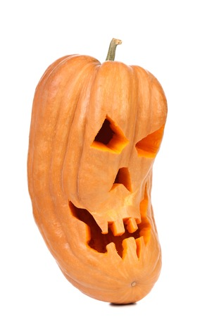 Spooky halloween pumpkin lantern. Isolated on a white backgropund. photo