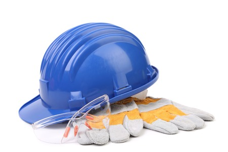 Glasses hard hat and gloves. Isolated on a white background. photo
