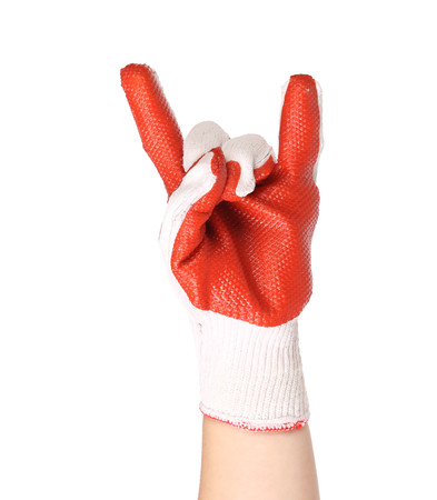 sternly: Hand in red rubber protective glove shows rock sign. Isolated on a white background