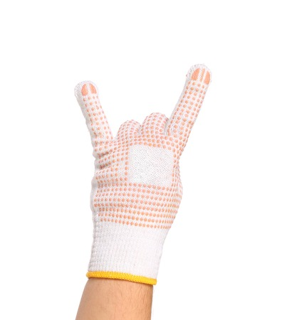 sternly: Hand in in white rubber protective glove shows rock sign isolated on a white background Stock Photo