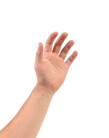 interdigital: Hand that can hold something. Isolated on a white background.