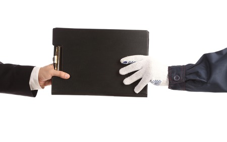 Two hands holding folder. Isolated on a white backgropund.