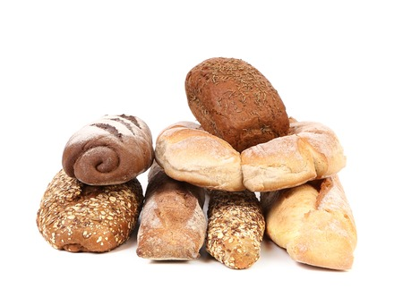 Various healthy bread. Isolated on white background. photo