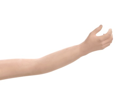 part body: Close up of plastic hand. Isolated on a white background. Stock Photo