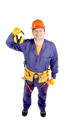 ear muffs: Worker in hard hat holding ear muffs. Isolated on a white backgropund.