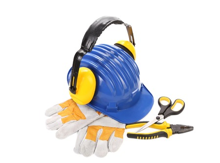 Various working equipment. Isolated on a white background. photo