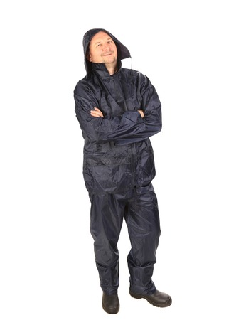 Man in waterproof coat with hood. Isolated on a white background. photo