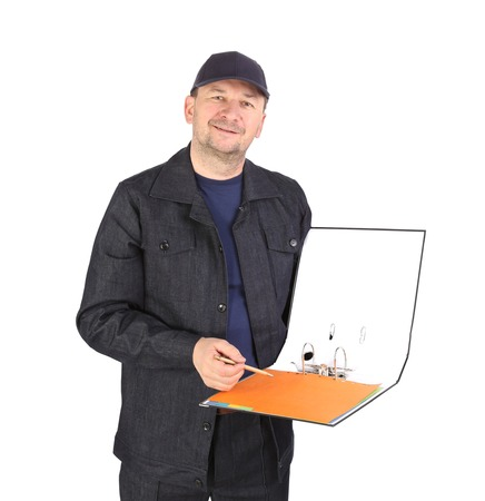 Worker in cap with opened folder. Isolated on a white background. photo