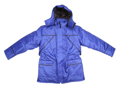 Close up of mans blue jacket. Isolated on a white background. photo