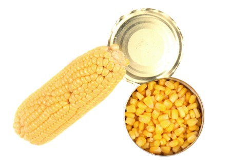 Composition of corn cop and canned corn. Isolated on a white background. photo