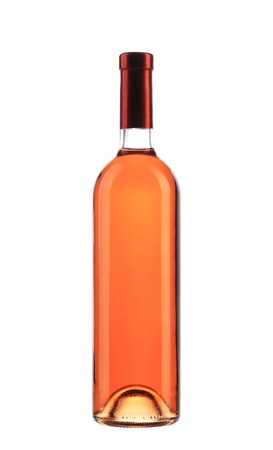 Full pink wine bottle. Isolated on a white background. photo
