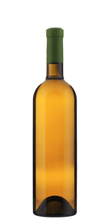 Full white wine bottle. Isolated on a white background. photo