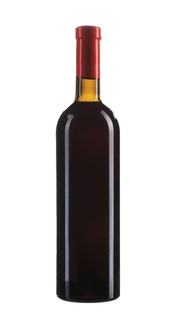 Full red wine bottle. Isolated on a white background. photo