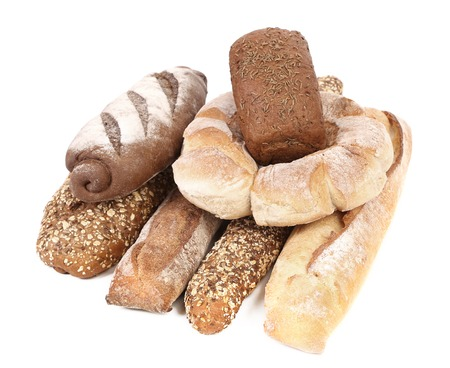 Composition various kinds of bread. On a white background photo