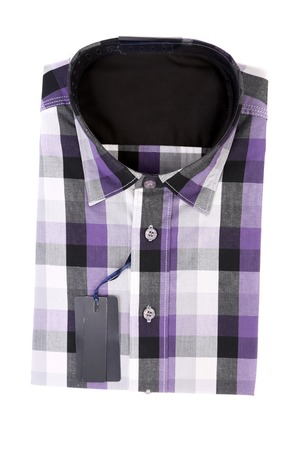Bright multi-colored plaid shirt with a collar. Isolated on a white background. photo
