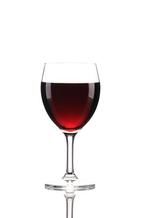 Close up of red wine glass. Isolated on a white background. photo