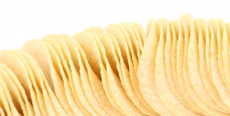 titbits: Stack of potato chips. Isolated on a white background