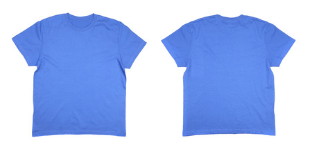 Two men's blue T-shirts. Isolated on a white background photo