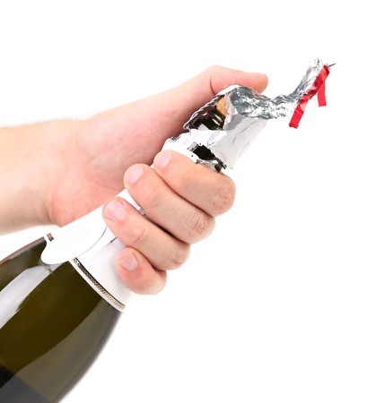 Champagne opening. Isolated on a white background photo