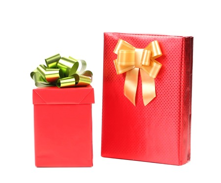 Christmas presents of red cover. Isolated on a white background photo