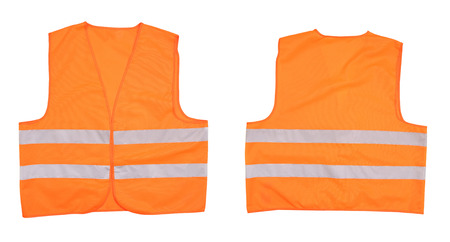 Safety orange vest. Front and back view. Isolated on a white background photo