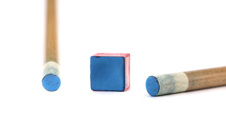 cue sticks: Cue sticks with chalk block. Isolated on white background Stock Photo