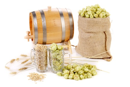 Composition of hop and barley. Isolated on white background photo