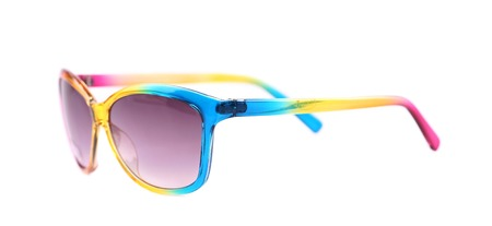 polarised: Colorful sun glasses. Isolated on a white background. Stock Photo