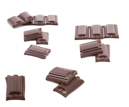 Collage of three chocolate bars. Isolated on a white background. photo