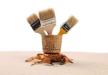 acute angle: Composici�n de la cesta de cangrejos y pinceles. Aislado en un fondo blanco.