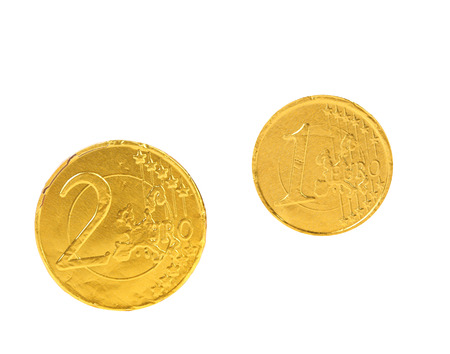 Two euro coins. Isolated on a white background. photo