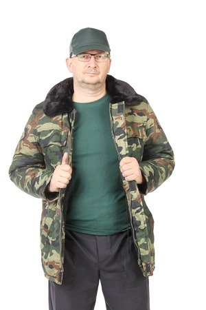 Man in military coat. Isolated on a white background. photo