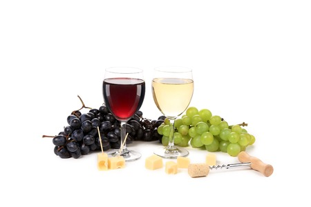 Wine composition of glasses and grapes. Isolated on a white background. photo