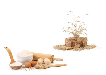 Collage of wheat products  Isolated on a white background  photo