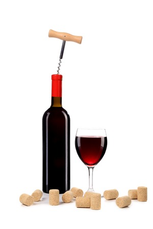 Composition of wine bottle and glass. Isolated on a white background. photo
