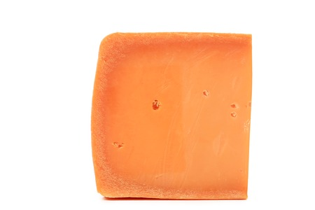 holand: Piece of holand cheese. Isolated on a white background.