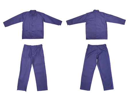 Pair of blue work wear  Isolated on a white background  photo