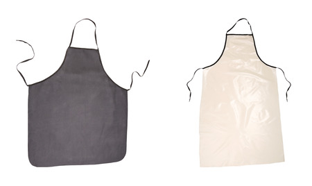 Two aprons black and pink. Isolated on a white background. photo