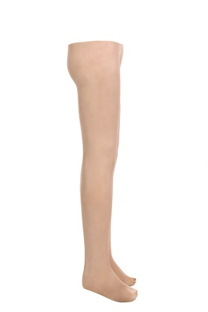 unclothed: Close up of mannequin male legs. Isolated on a white background. Stock Photo